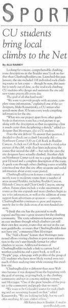 Our first news article, in the Free Colorado Daily.  That was awesome.