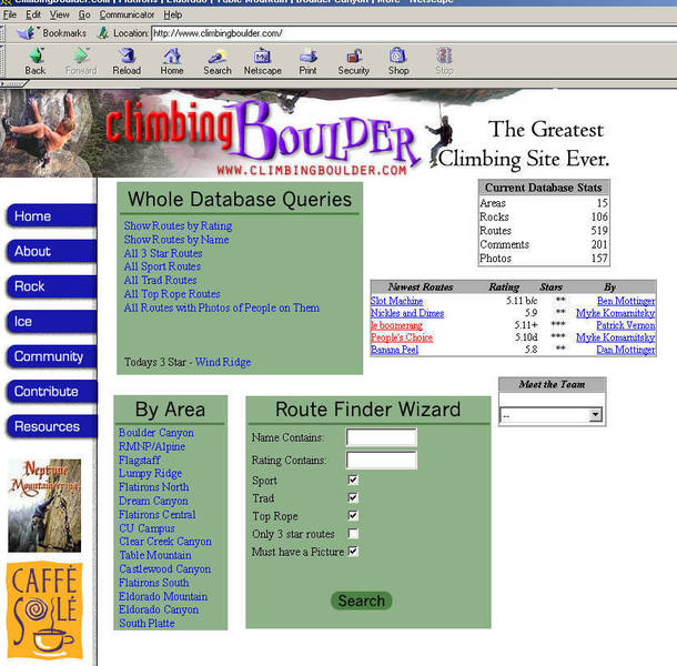 One of the ClimbingBoulder.com looks, about 2001-2003
