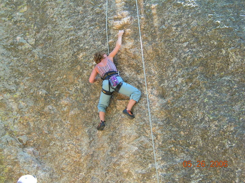 Queen Shauna Gunnels show the boys how to complete the crux.