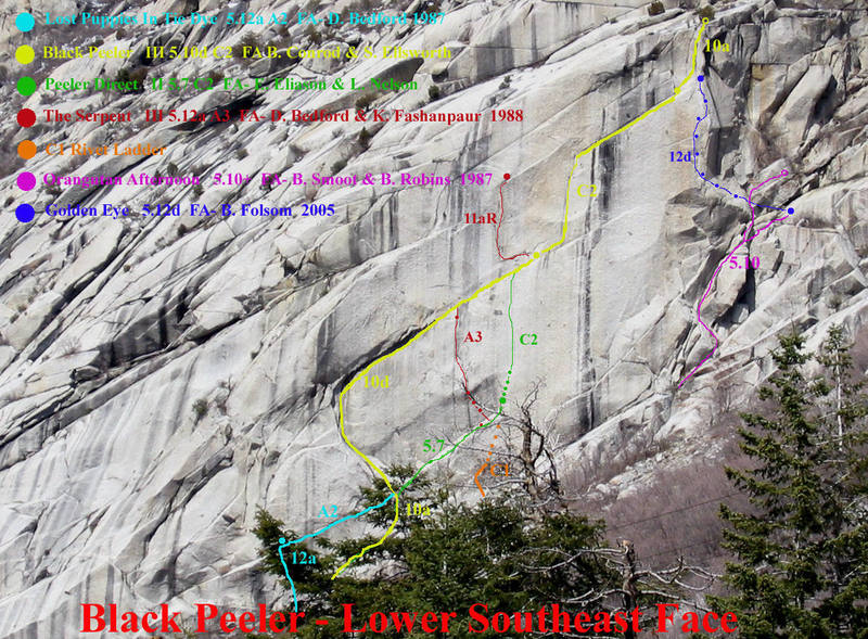 Photo/Topo of the Lower Southeast face of the Black Peeler Buttress.  Little Cottonwood Canyon.