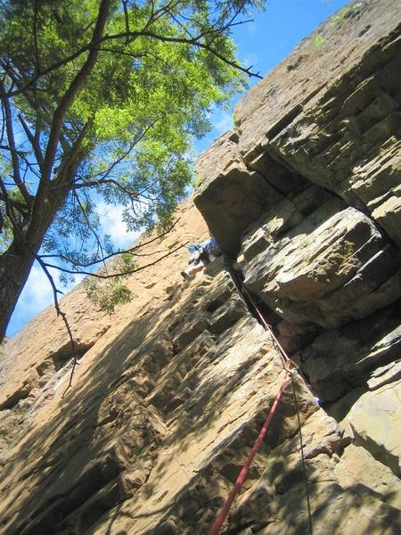 Climbing just above the crux.