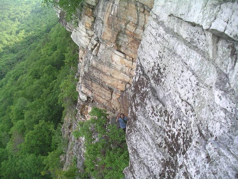 Mike at the belay ledge below P3.