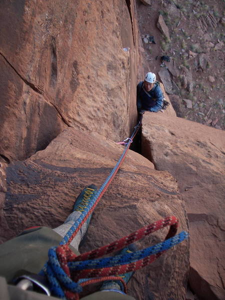 AC coming up to the first belay, Dunn Route.