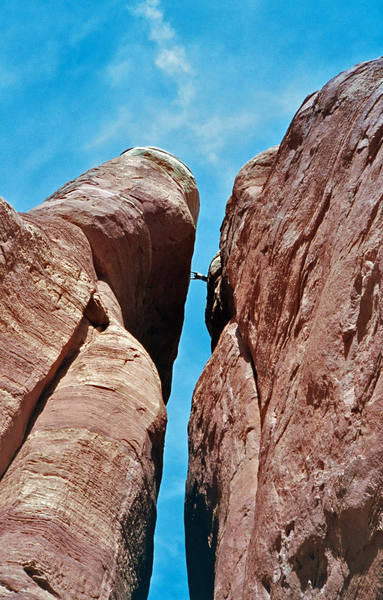The step across from the base of the first rappel.