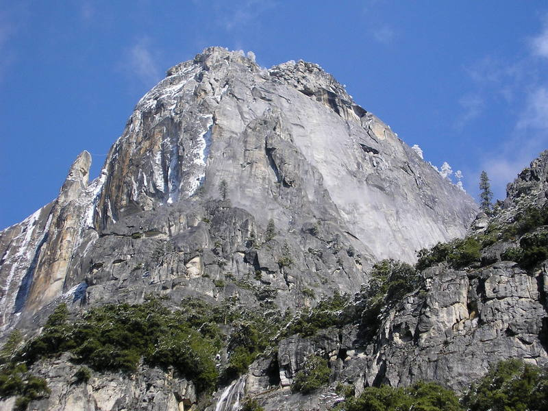 Lost Arrow Spire, note ice coated tyrolean