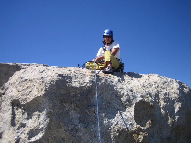 Megan on the summit block.