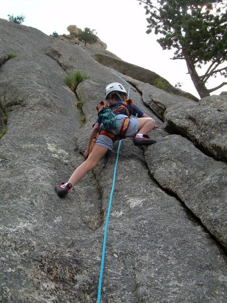 Jaclyn, 8, enjoying P1.  This climb is reasonable for kids.
