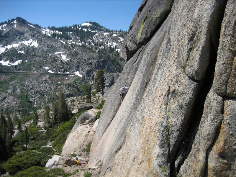 Brad on the slash.  A good view of the entire climb.  Photo by Joe LaBarbera.<br>