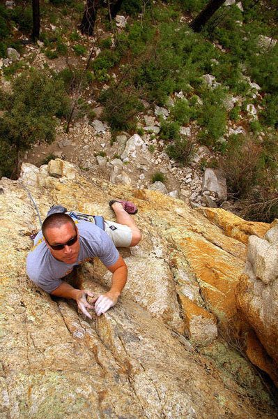 Clip Clip Here, Clip Clip There, a long-ish 5.9 at Munchkinland. Photo by Hillary Davis.
