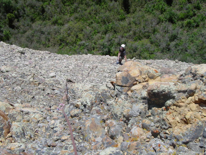 Looking back at pitch 3 of Salmfire. Yes, those rocks are very loose.