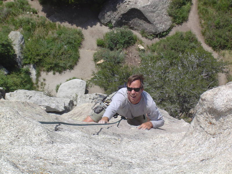 """Mike Ottman following """"Delay of Game"""" 5.8, on the West Side of Parking Lot Rock"""