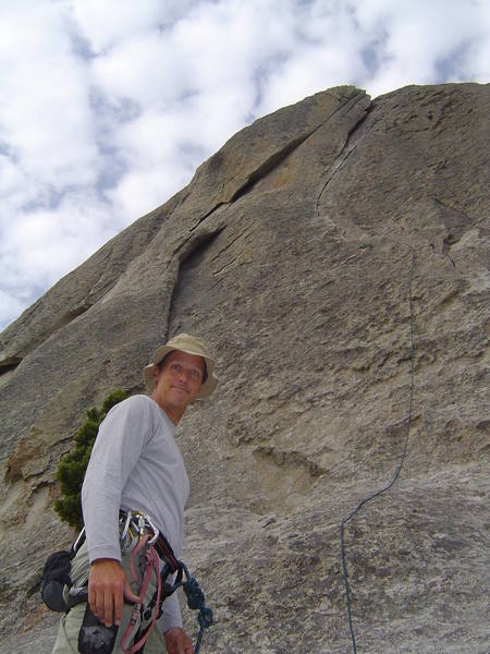 """Mike Ottman looking up the City Classic """"Wheat Thin"""" (5.7) on Elephant Rock"""