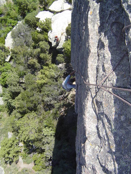 """Johnny K, celebrating yet another over 40-something birthday by following up on the classic """"Skyline"""" (5.8), on the Morning Glory Spire"""