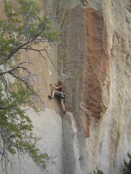 """Chris Garner, heading up the Well-named """"Terror in Tiny Town"""" a 5.11 thin-seam classic on the Buzzard's Perch"""