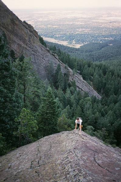 Patty on the lower 1/3rd of the N.E. Ridge of The Keel in the Flatirons.