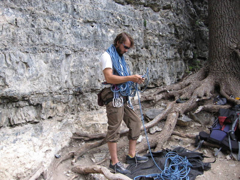 Me flaking out the rope and undoing some serious tangles.