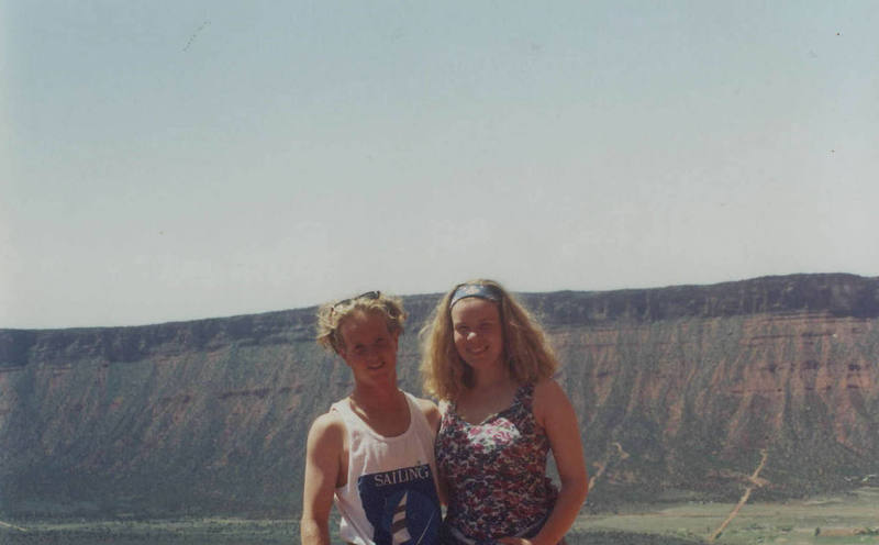 My soon to be wife and I at the base of a tower in Moab Febuary of 1993.