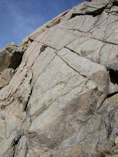 East of the Sun (in red), Gary Schmidt on East Slab.  Photo originally uploaded by Gary Schmidt.