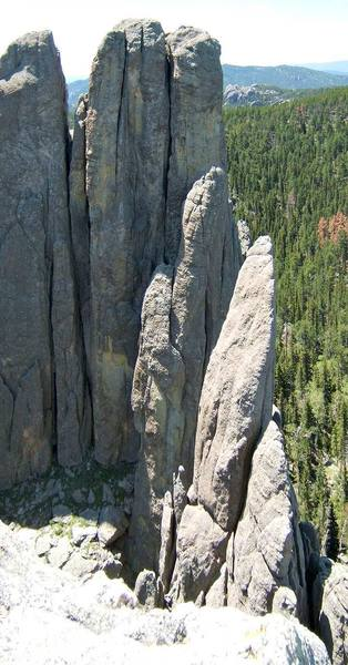 A little different view of Eyetooth from the summit of Spire Five.  Spire Four and South Tower stand tall next to Eyetooth.