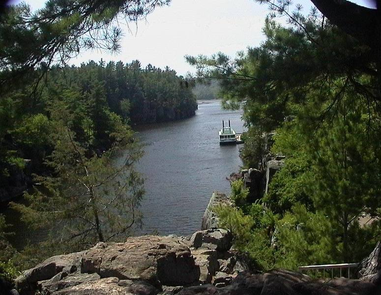 View of the St. Croix River from the top of Angle Rock within Interstate Park.