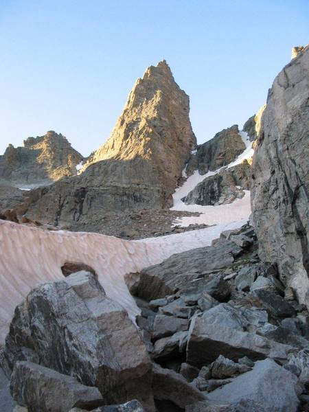 Sharkstooth as seen from snowfield on the approach up.