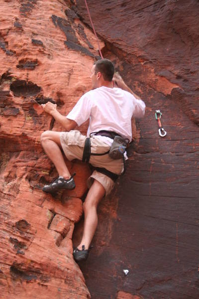 Jason back on the Red Rock saddle (finally) enjoying the route;