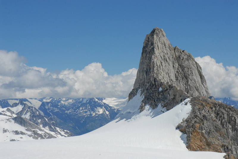 This is Claw Peak, the West Ridge (5.6), which we climbed 4 days later in full-on conditions, faces the camera.  The Plummer Hut can be seen just at the base of the ridge on the right side of the photo.
