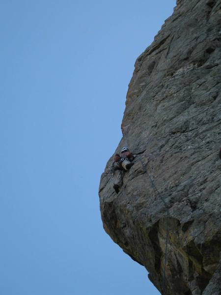 About a third of the way up the Box Car Arete.