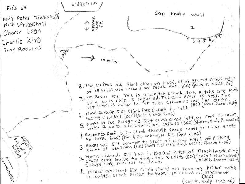 """Printable topo for """"San Pedro Wall."""""""