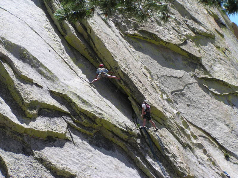 Ian leads pitch 3 (5.10a) of Spook book.