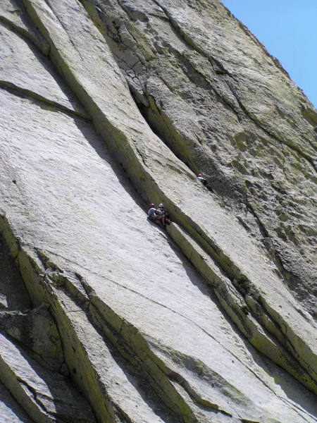 Preparing for pitch 4 (5.10+) of Spook Book.  This is a long pitch.