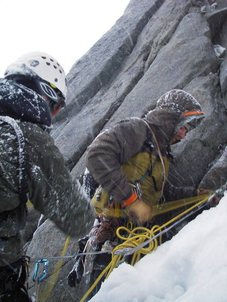 Rapping down the south face of the Claw as the storm and nightfall closed in around us.  Seth and I are in the photo pulling the rope for rappel.  Photo, once again, by Tom Gray.