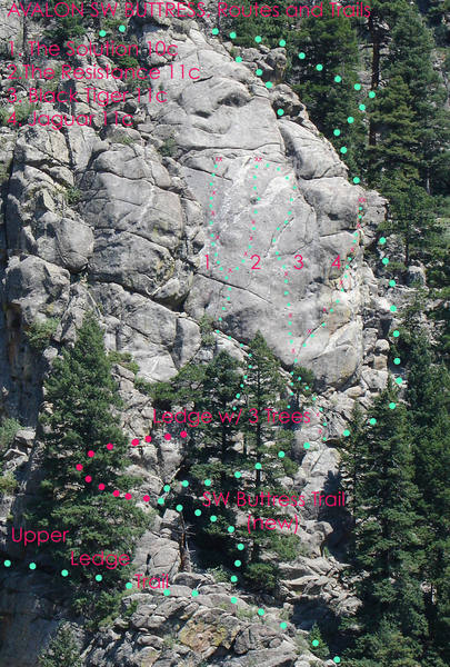 This image is an overview of the Southwest Buttress of Avalon, taken from the east end of Animal World.  All known routes and approach trails are indicated.