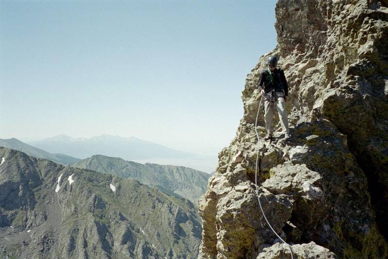 Mark Sokol traversing on The Prow after the first gendarme.