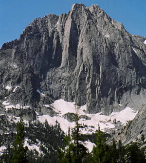 The Citadel (north face). Edge of Time is the prominent sharp arete in left center of photo.