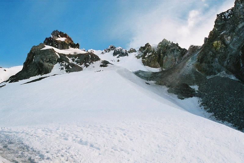 Looking up the HB route from the snow field below.