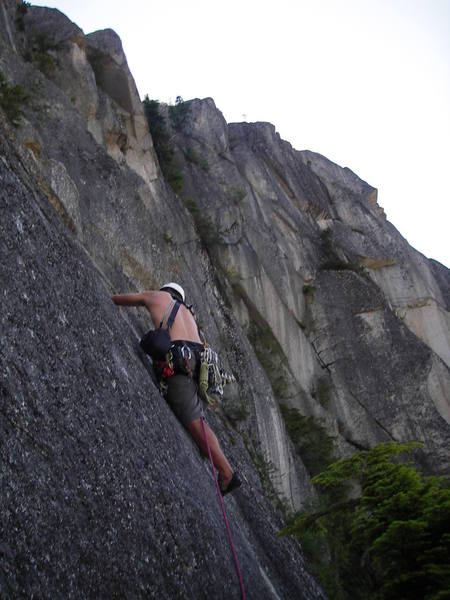 Climbing up the fist crack on pitch 10, and loving it.  Look at the view!