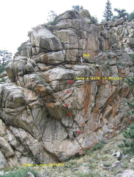 Routes on Spasmodic Rock.