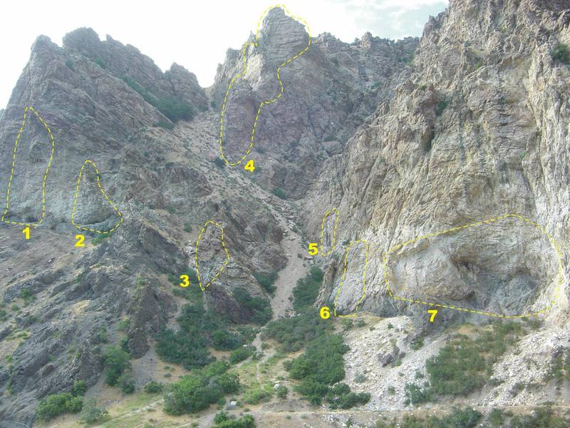 Rock Canyon mouth - Trilogy Gully<br> <br> 1. Bad Bananas<br> 2. Superbowl Wall<br> 3. The Wasp<br> 4. Trilogy Buttress<br> 5. ? Unknown (3 routes; 1 set of chains)<br> 6. ? Unknown (4 routes; 3 sets of chains) <br> 7. Jobsite<br> <br> Notes:<br> * For 5 & 6, Darren would know, but he's never around when I stop by The Quarry.<br> * There are 2 bolted routes on the left/west side of Trilogy in the pic. They both look like alternate routes to the second pitch.