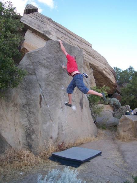 Final move dyno, Peanut Butter Pockets V2, Table Rock Boise, Idaho