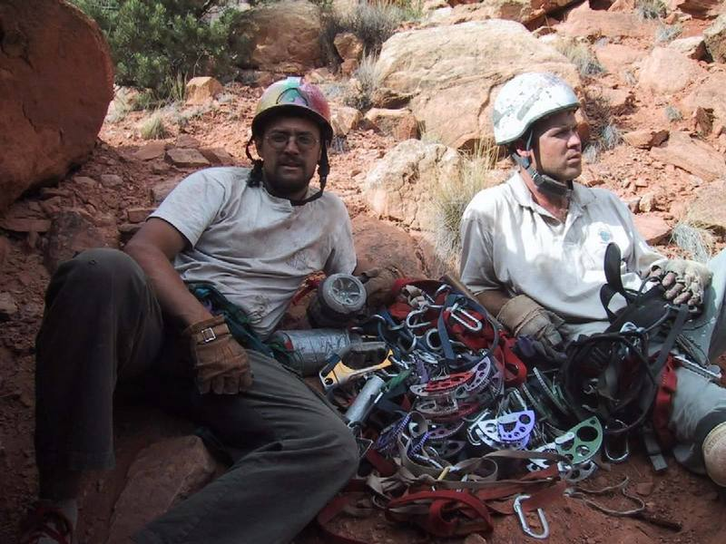 It was 107 degrees during the day.  Lots of offwidth.  Hmmm, I wonder why it's called Dry Heaves.  Check out the wide gear.