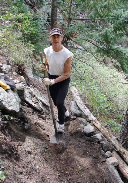 Richard working on the chain gang, rebuilding the High Trail to Watermark.