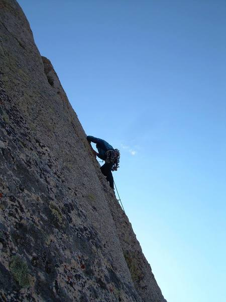 """Gabe leading the famous """"K-cracks"""".  Beautiful climb.  Photo taken from the 5.6 variation."""