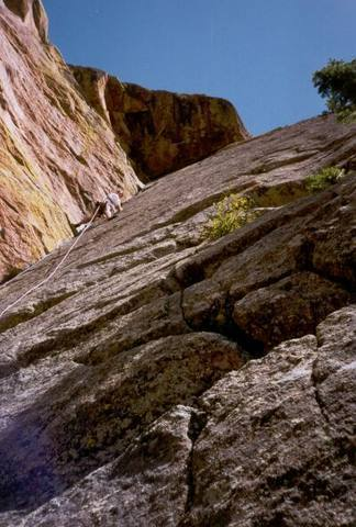 """Tony Bubb on pitch 3 of Perversion, showing the """"Vulcans Don't Lie"""" roof."""
