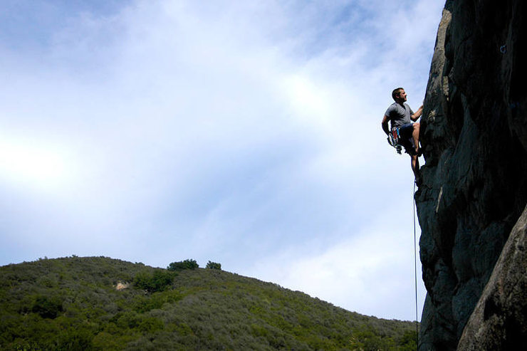 """""""Many Happy Returns"""" boasts unusually steep and well-protected climbing by San Ysidro standards."""