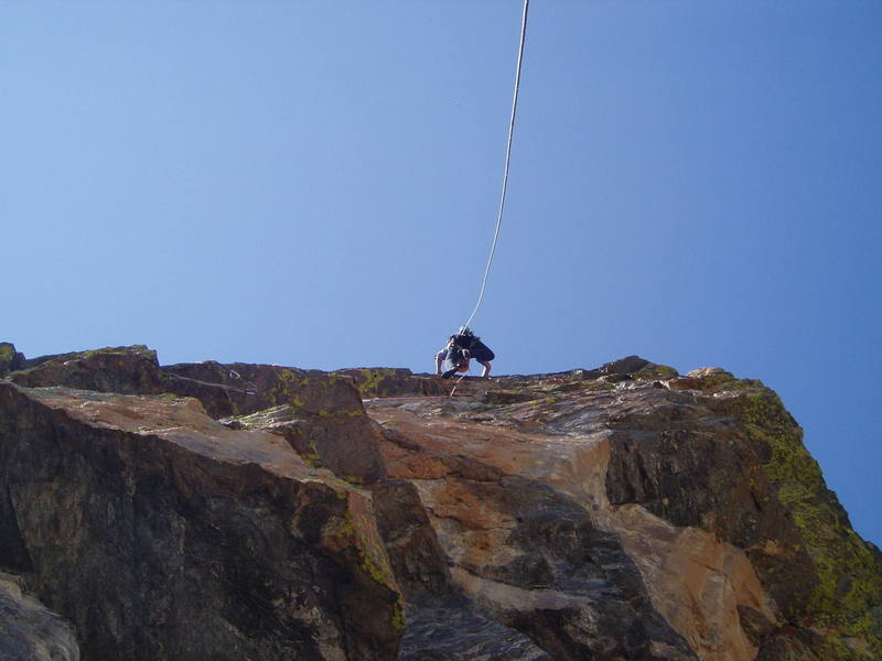 On the crux second pitch - long runners below the roof and through it make the rope-drag on this pitch reasonable.