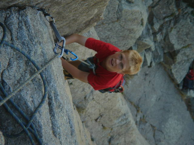Christian coming up on the top of the first pitch belay.