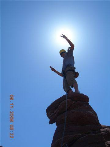 Atop 'Ancient Art' in the Fishers Tower area of Utah