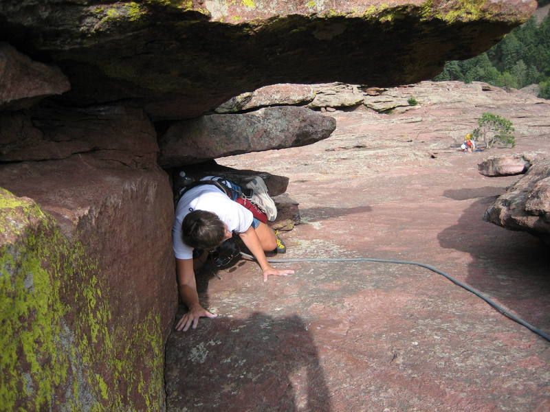 Judy Nehls, on her 1st climb ever, on P5 of 7, visiting from WI.  Photo by Regina Crosby (my sister), with permission. Just kinda a cool angle I've not noticed before....
