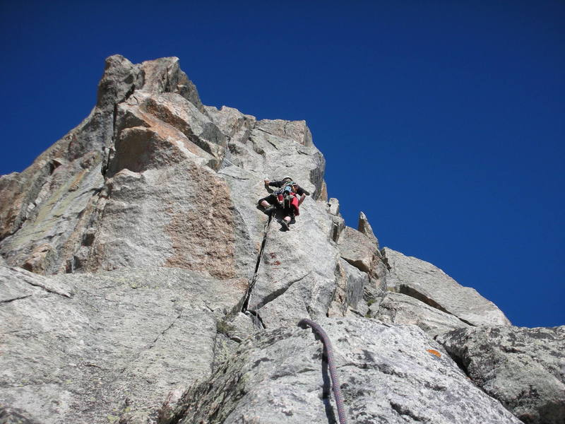 Pitch #7 with arete climbing, hand and finger cracks at its best